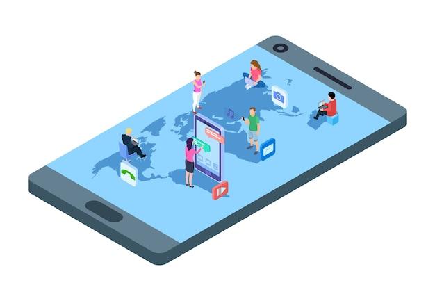 Sociale media concept. isometrische mensen met telefoons, laptop op wereldkaart. wereldwijde communicatie vectorillustratie. wereldcommunicatienetwerk, verbinding gemeenschap gebruikt internet Premium Vector