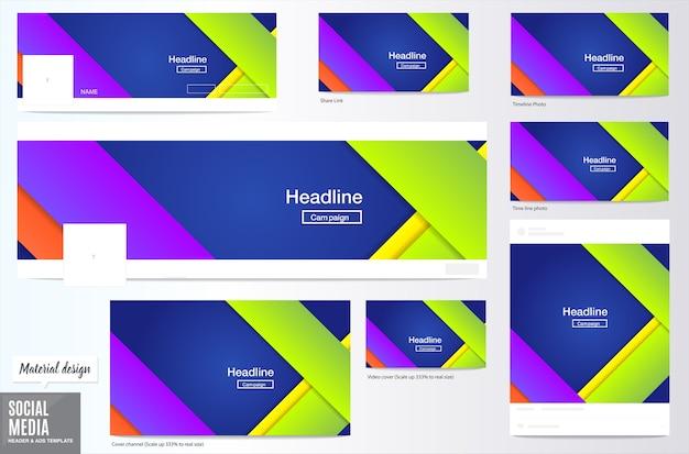 Sociale media cover en achtergrond van advertentieslay-out, materiaalontwerpstijl, koplay-out Premium Vector