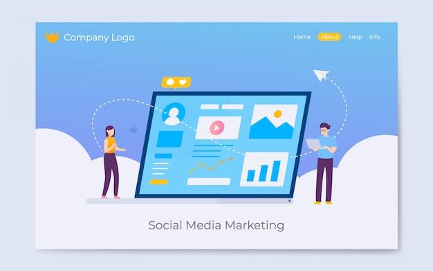 Sociale media die landingspaginaillustratie op de markt brengen Premium Vector
