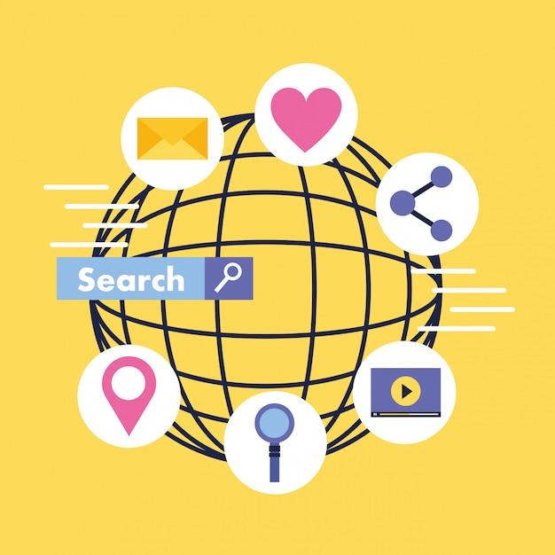Sociale media digitaal Premium Vector