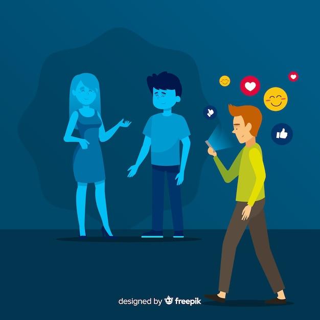 Sociale media doden vriendschapsconcept Gratis Vector