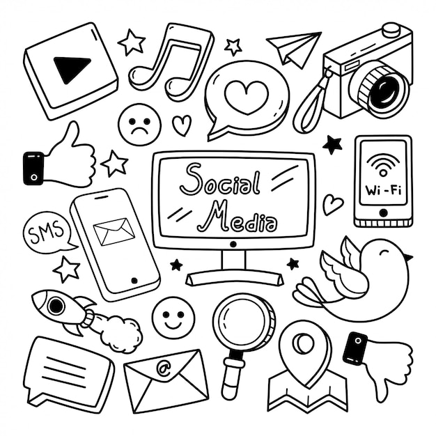 Sociale media doodle illustratie Premium Vector