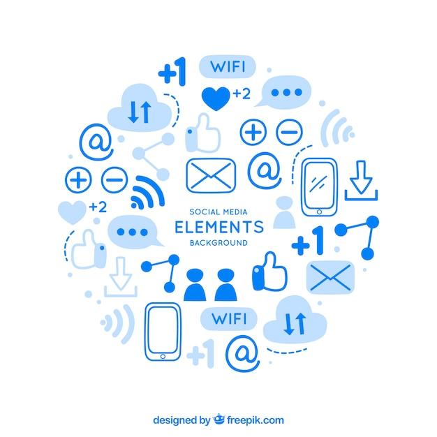 Sociale media elementen achtergrond Gratis Vector