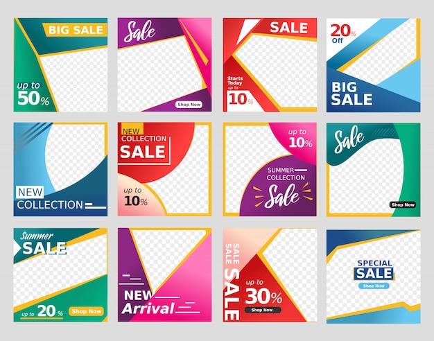 Sociale media en de bannerachtergrond van de websitelay-out in het kleurrijke ontwerp van de kortingsverkoop geschikt voor manier Premium Vector