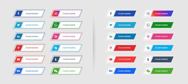 Sociale media geplaatste pictogrammenwebbanners Gratis Vector