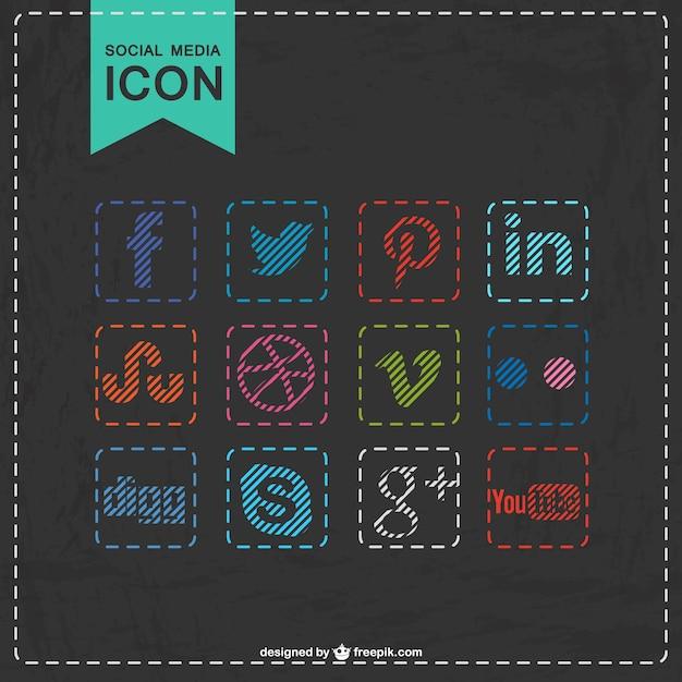 Sociale media iconen gestikte ontwerp Gratis Vector