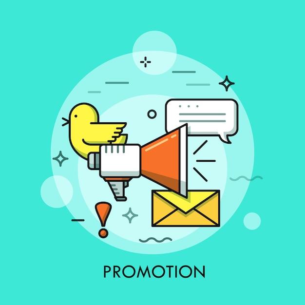Sociale media marketing dunne lijn illustratie Premium Vector