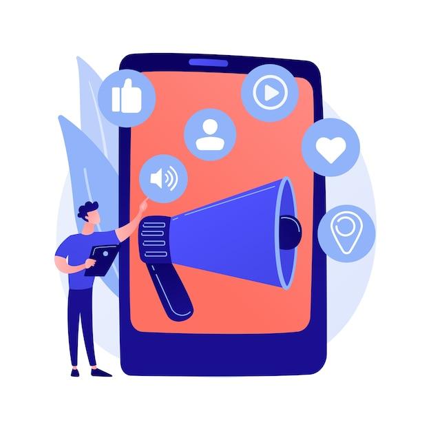 Sociale media marketing. e-commercetool, smm-beheer, online promotie. zakenman die sociale netwerken gebruikt voor productpromotie. Gratis Vector