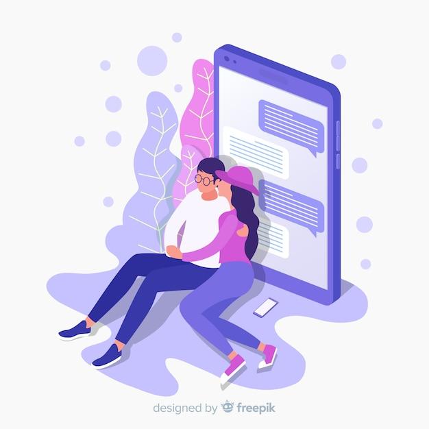 Sociale media met dating applicatie concept Gratis Vector