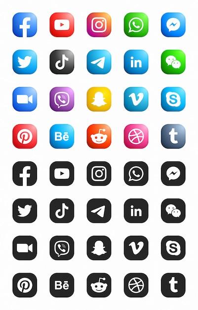 Sociale media moderne io's 3d-pictogrammen instellen Premium Vector
