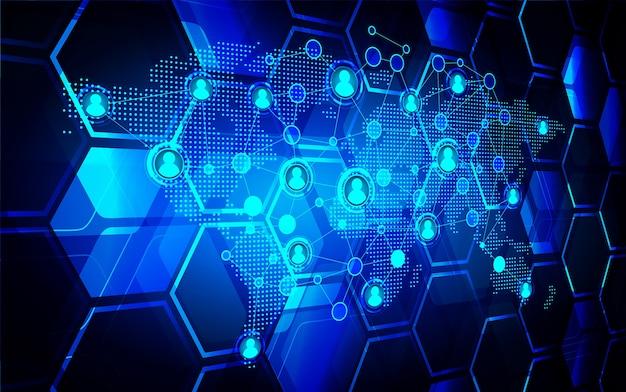 Sociale media netwerk cyber toekomstige technologie Premium Vector