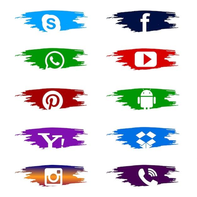 Sociale media set van kleurrijke iconen Gratis Vector