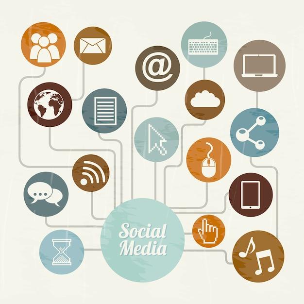 Sociale media vintage over beige achtergrond vectorillustratie Premium Vector