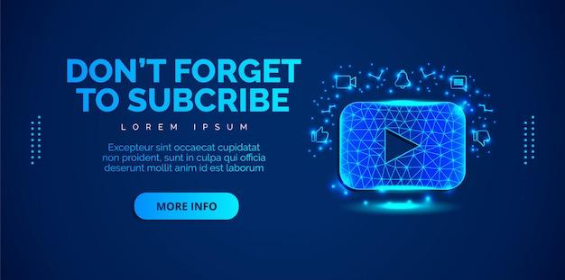 Sociale media youtube met blauwe achtergrond. Premium Vector