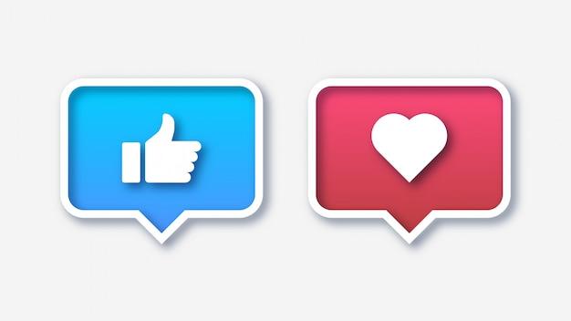 Sociale media zoals en favoriete pictogrammen Premium Vector