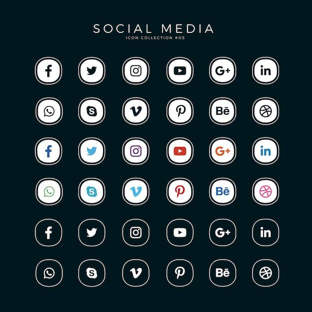 Sociale mediapictogrammen instellen Premium Vector