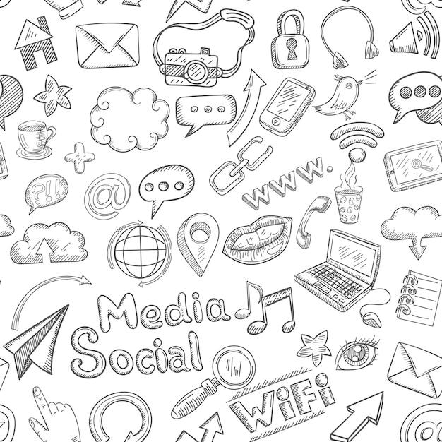 Sociale naadloze doodle Gratis Vector