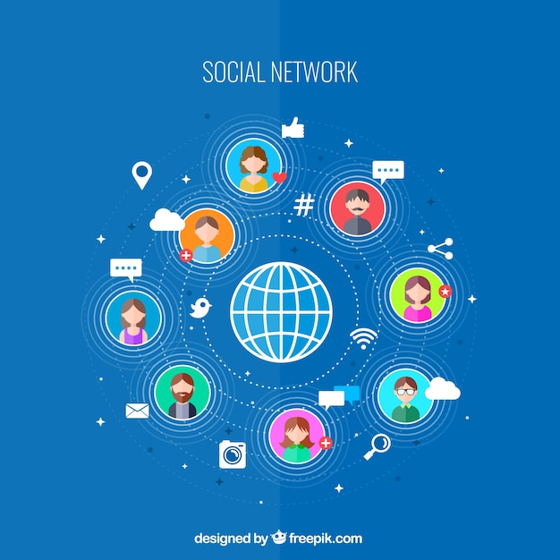 Sociale netwerk connectiviteit Gratis Vector