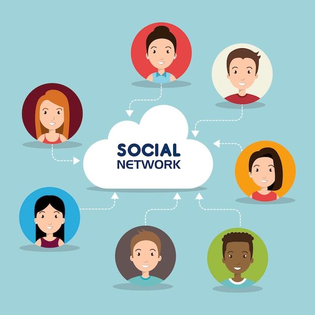 Sociale netwerk mediasamenstelling Gratis Vector