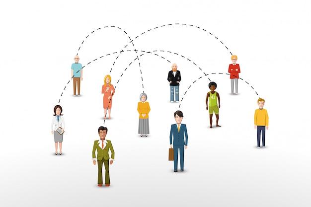 Sociale netwerk mensen verbinding concept vectorillustratie Premium Vector