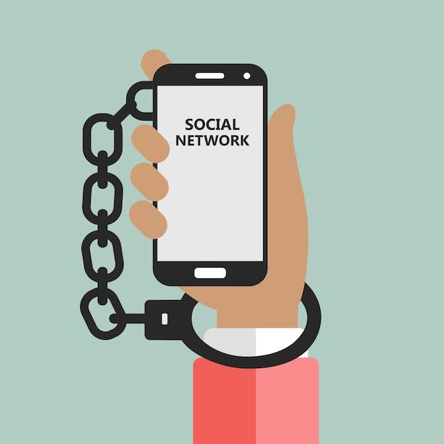 Sociale netwerken verslaving metafoor Gratis Vector