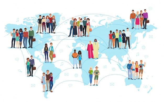 Sociale netwerkverbinding van mensen in wereldkaart Premium Vector