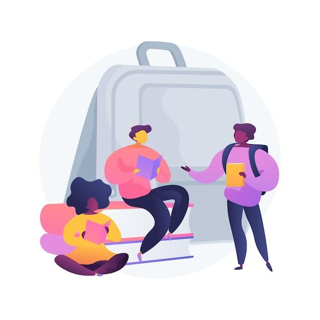 Socialisatie van leerlingen abstracte concept illustratie. socialisatie in de klas, inclusiviteitsprogramma, schoolomgeving, sociale interactie van leerlingen, leeftijdsgenoten spelen samen Gratis Vector
