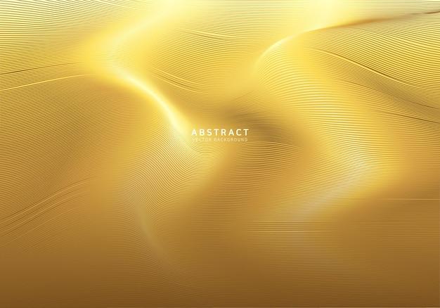 Soepele gouden golf achtergrond Premium Vector
