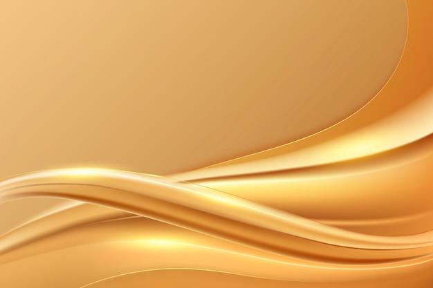 Soepele gouden golf achtergrond Gratis Vector