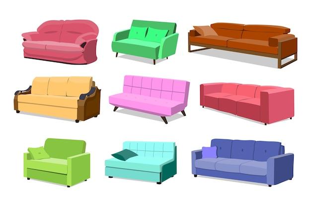 Sofa gekleurde set. comfortabele bankinzameling geïsoleerd Premium Vector