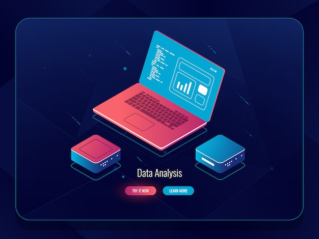 Soft development isometric, web design process, laptop met data, programmeren en coderen Gratis Vector