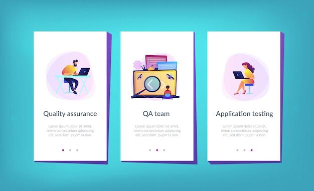 Software die het app-interface-sjabloon test Premium Vector