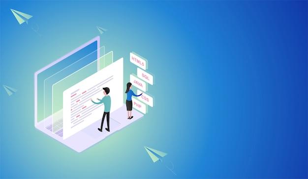 Software en programmeerontwikkeling isometrisch concept Premium Vector