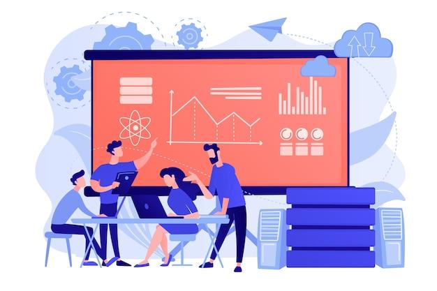 Software engineer, statisticus, visualizer en analist die aan een project werken. big data-conferentie, big data-presentatie, data science-concept Gratis Vector
