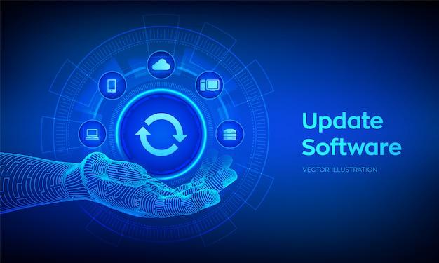 Software-illustratie op virtueel scherm upgraden Premium Vector
