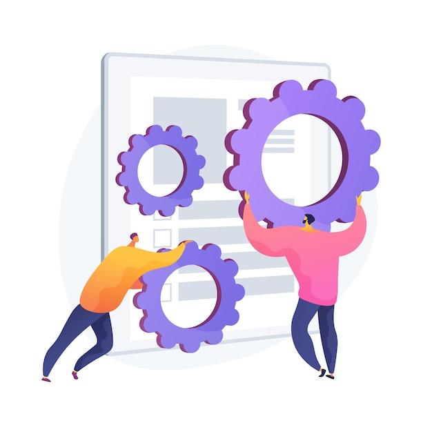 Software installatie. contractaanpassing, regeling van overeenkomstvoorwaarden, programma-fix. collega's met versnellingen stripfiguur. applicatie bugs. vector geïsoleerde concept metafoor illustratie Gratis Vector