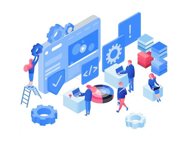 Software, isometrische webontwikkeling Premium Vector
