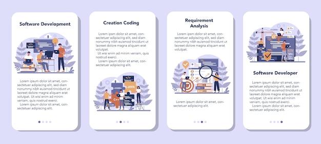 Software mobiele applicatie banner set. idee van programmeren en coderen, systeemontwikkeling. digitale technologie. software die een bedrijf ontwikkelt dat code schrijft. Premium Vector