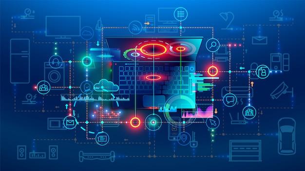 Software ontwikkeling coderingsproces concept Premium Vector
