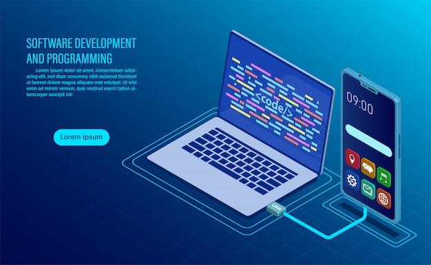Software ontwikkeling en codering. programmeren van concept. gegevensverwerking. computercode met vensterinterface. Premium Vector