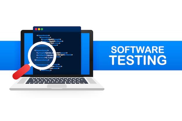 Software testen. software ontwikkeling workflow proces codering testen analyse. illustratie. Premium Vector