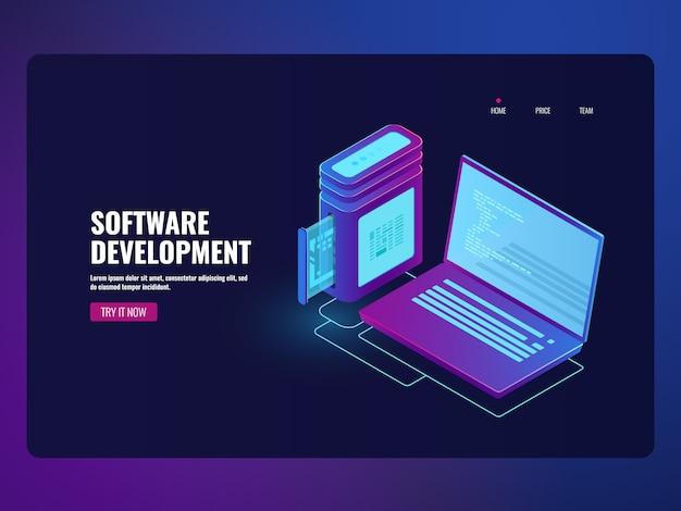 Software voor online bankieren, laptop met programmacode op scherm Gratis Vector