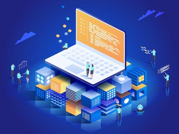 Software, webontwikkeling, programmeerconcept. mensen die communiceren met laptop, grafieken en statistieken analyseren. technologieproces van softwareontwikkeling. isometrische illustratie Premium Vector