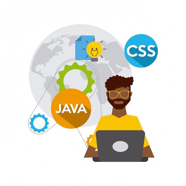 Softwareontwikkelaar en programmeur Premium Vector
