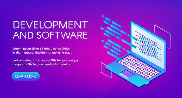 Softwareontwikkeling illustratie van computer digitale technologie. Gratis Vector