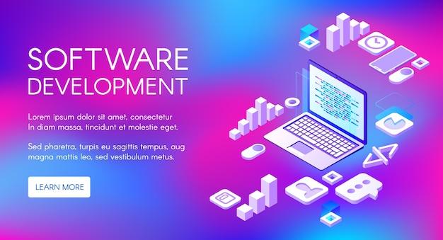 Softwareontwikkeling illustratie van digitale programmeertechnologie voor computer Gratis Vector