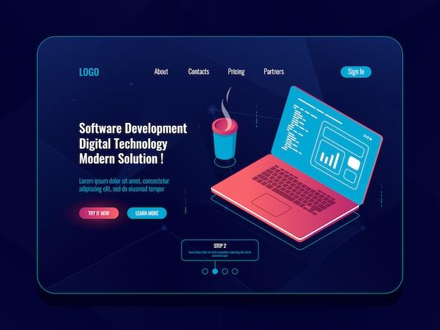 Softwareontwikkeling isometrisch, programmeren en coderen, laptop met koffiekopje, data-analyse Gratis Vector