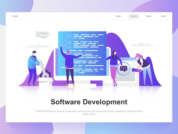 Softwareontwikkeling moderne platte ontwerpconcept. Premium Vector