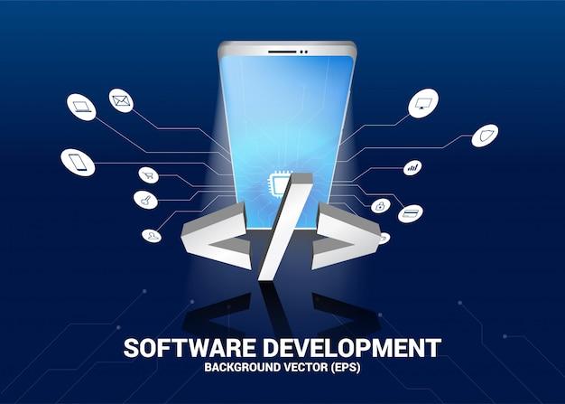 Softwareontwikkelingstekst en mobiele telefoon 3d met grafische kringslijn Premium Vector