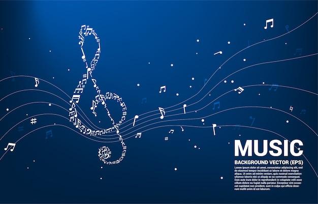 Sol key note vorm met muzieknoten dansen stroom Premium Vector